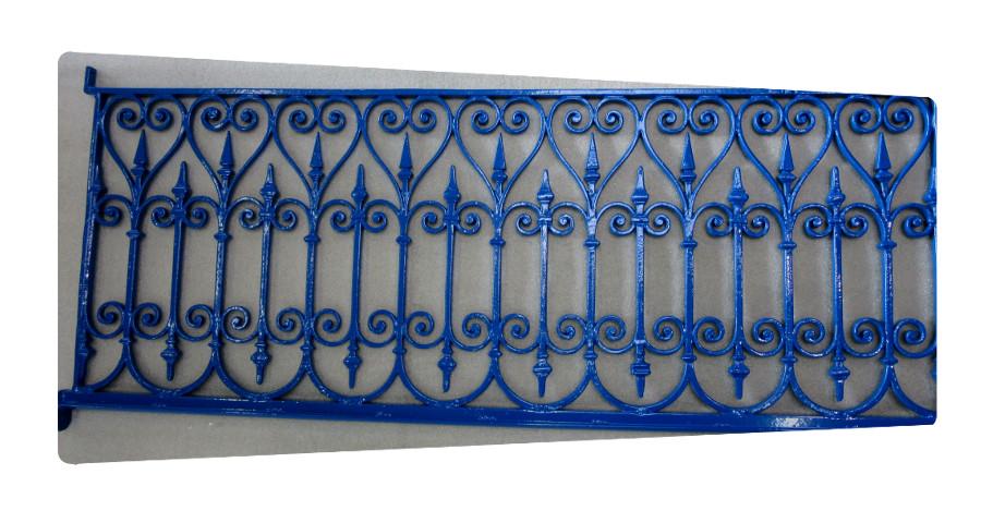 garde corps fer forgé  mise en peinture fouras bleu thermolaquage
