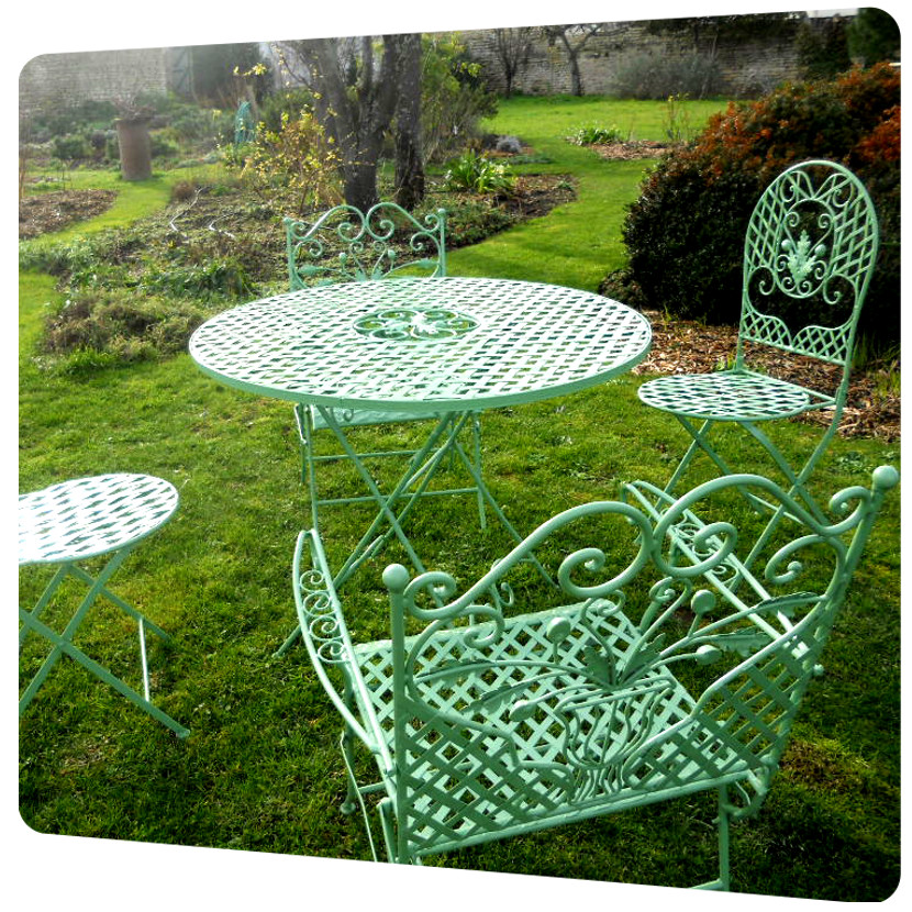 chaise de jardin table exterieur thermolaquage 17 vert qualicolor