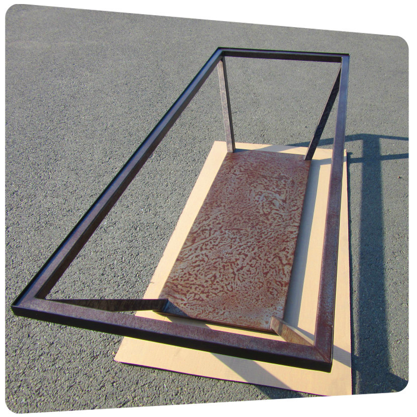 thermolaquage table acier interieur vernis mat effet rouille la rochelle ile de re