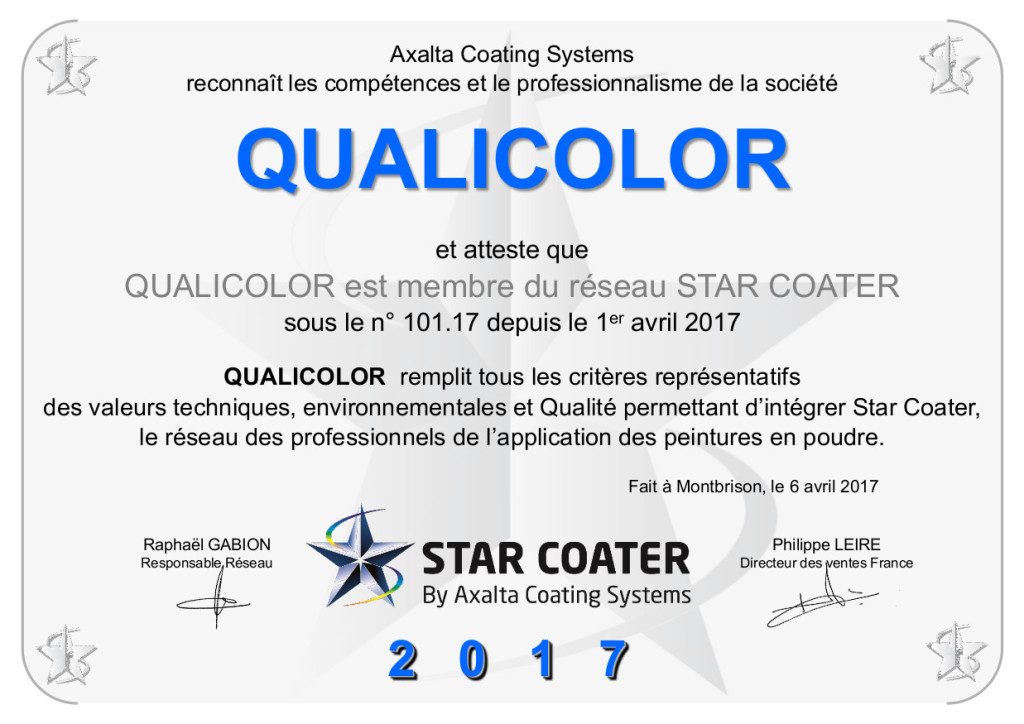 Diplome STAR COATER QUALICOLOR 2017