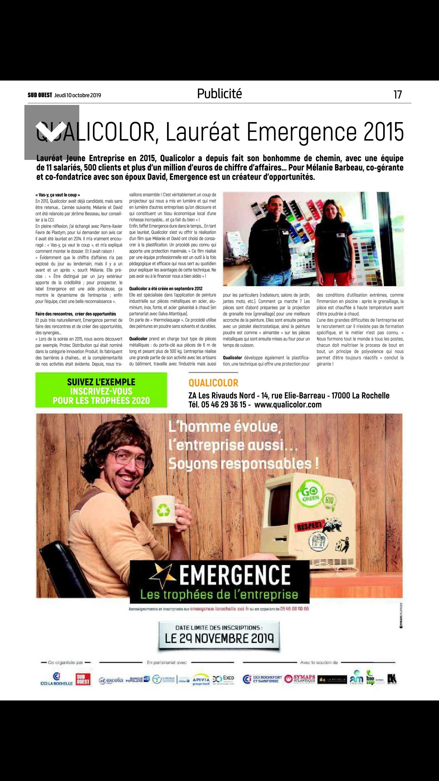 Article SUD OUEST 2019 QUALICOLOR lauréat Emergence 2015 (concours CCI La Rochelle)