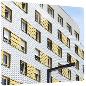 toles metalliques perforees galva decoratives habillage facade architecture urbaine teinte or pays de loire nouvelle aquitaine