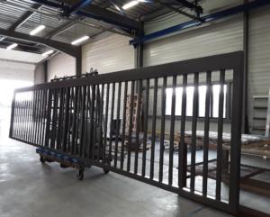 thermolaquage portail grande longueur 7m50 acier galvanise nouvelle aquitaine la rochelle
